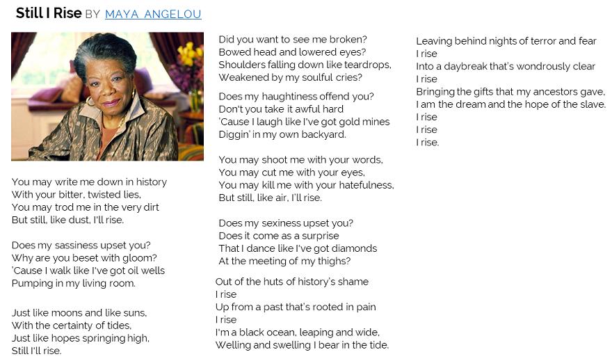 Still, I Rise by Maya Angelou